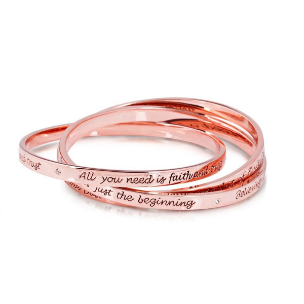 Disney Couture Tinkerbell Rose Gold Triple Interlock Bangle