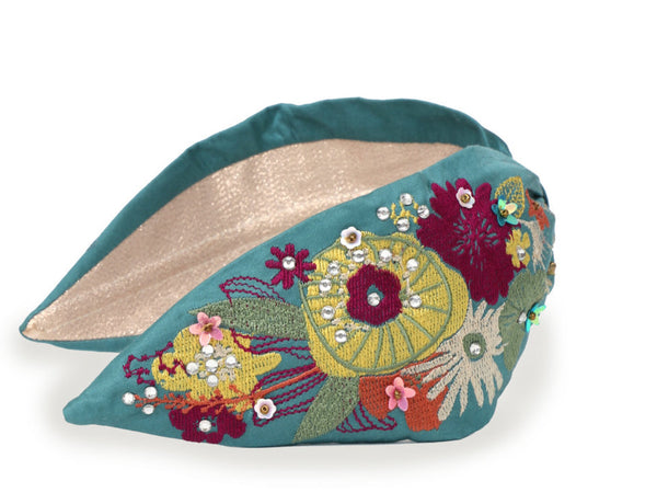 Powder Modern Floral Headband - Turquoise