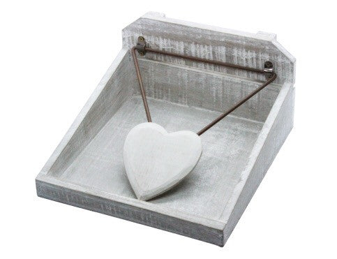 Distressed Wooden Heart Napkin Holder