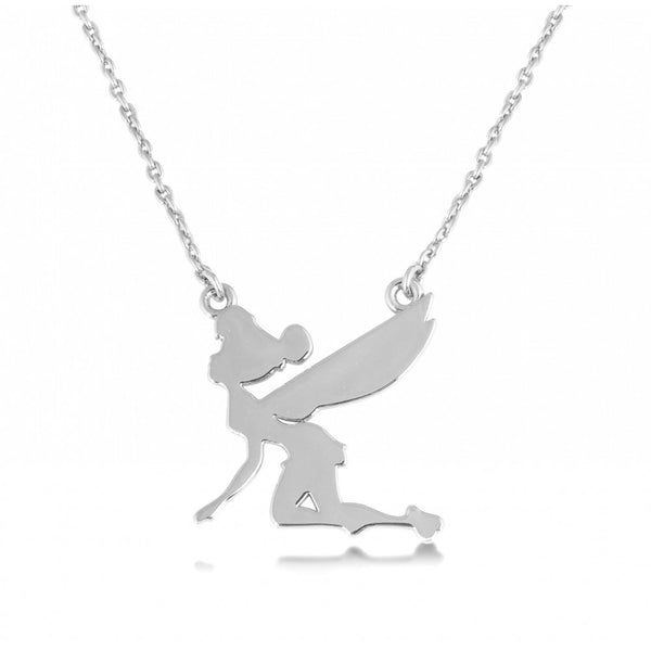 Disney Couture White Gold Flying Tinkerbell Silhouette Necklace