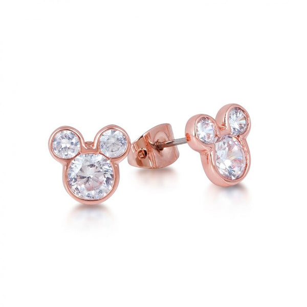 Disney Couture Rose Gold Crystal Mickey Mouse Stud Earrings