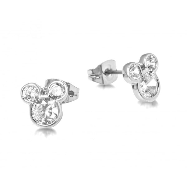 Disney Couture Silver Crystal Mickey Mouse Stud Earrings