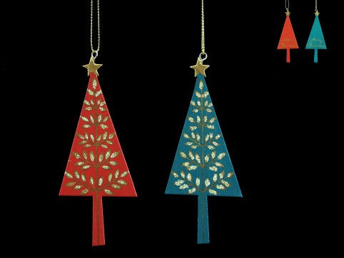 Wooden Tree with Gold Leaves Tree Decoration - Red / Green
