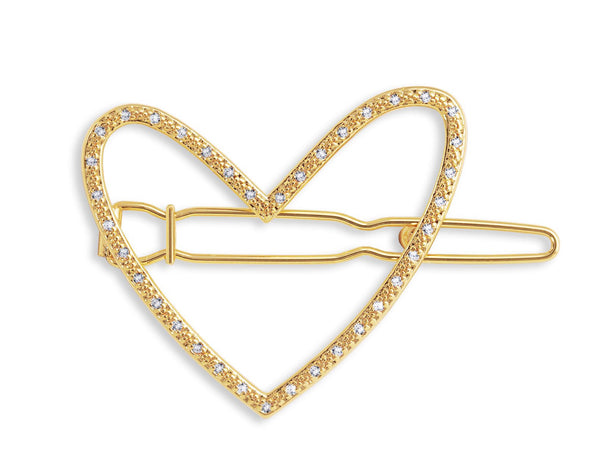 Joma Jewellery -  Hair Accessory Gold Pave Heart Clip