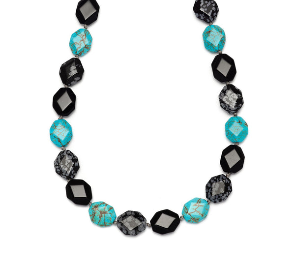 Lola Rose Winton Necklace - Black Agate / Natural Blue Magnesite
