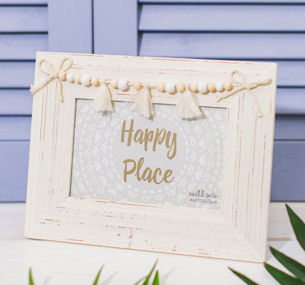 Sass & Belle White Tassel Photo Frame