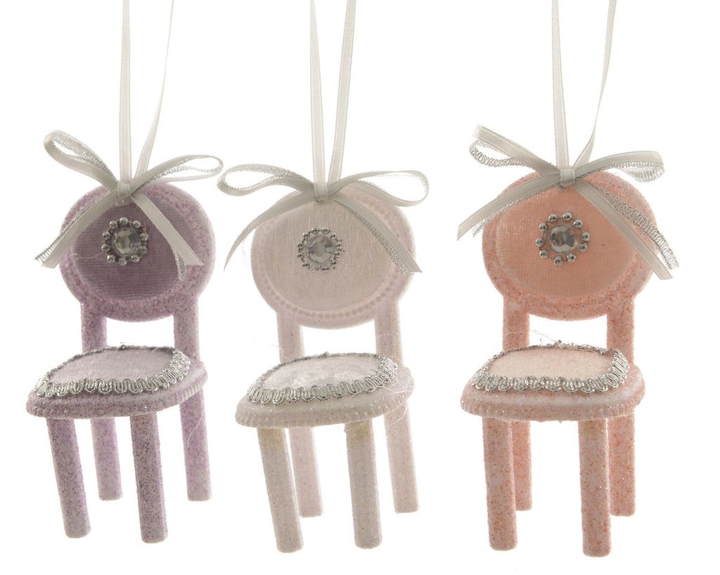 Glitter Chair Tree Decoration - Lilac / Baby Pink / Peach
