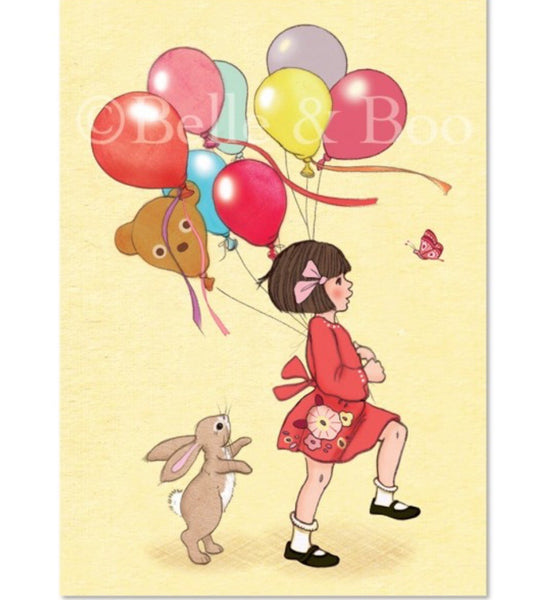 Belle & Boo Postcard - 'Birthday Balloons'