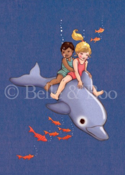 Belle & Boo Postcard - 'Dolphin Adventure'