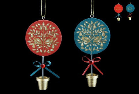Wooden Topiary Tree Decoration - Red / Green