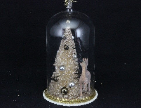 Vintage Tree & Deer in Glass Dome Decoration