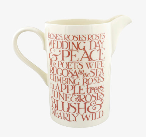 Emma Bridgewater  Pink Toast Roses All My Life Tall Straight Jug
