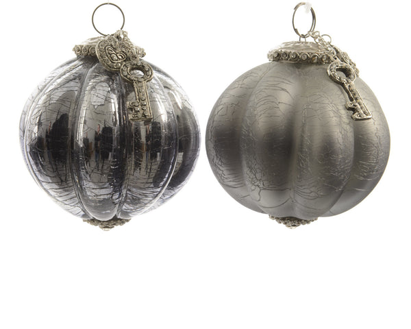 Large Glass Bauble with Key - Silver / Grey