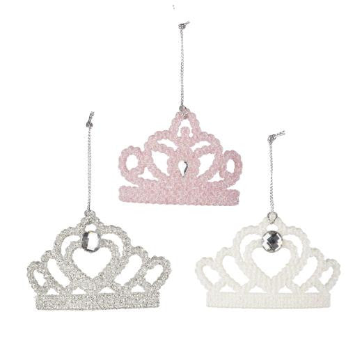 Sparkly Tiara Tree Decoration - Silver / Pink / White
