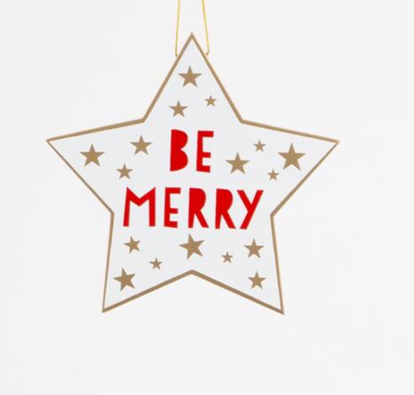 BE MERRY Hanging Star Decoration