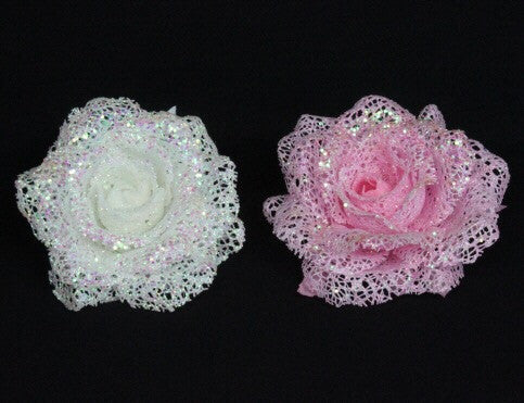 Rose Clip Tree Decoration - White / Pink