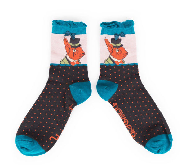 Powder Charcoal Mr Squirrel Ankle Socks