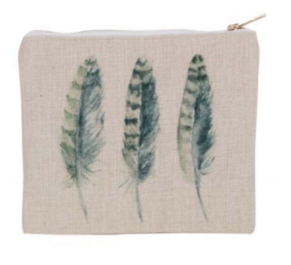 Gisela Graham Feather Print Pouch