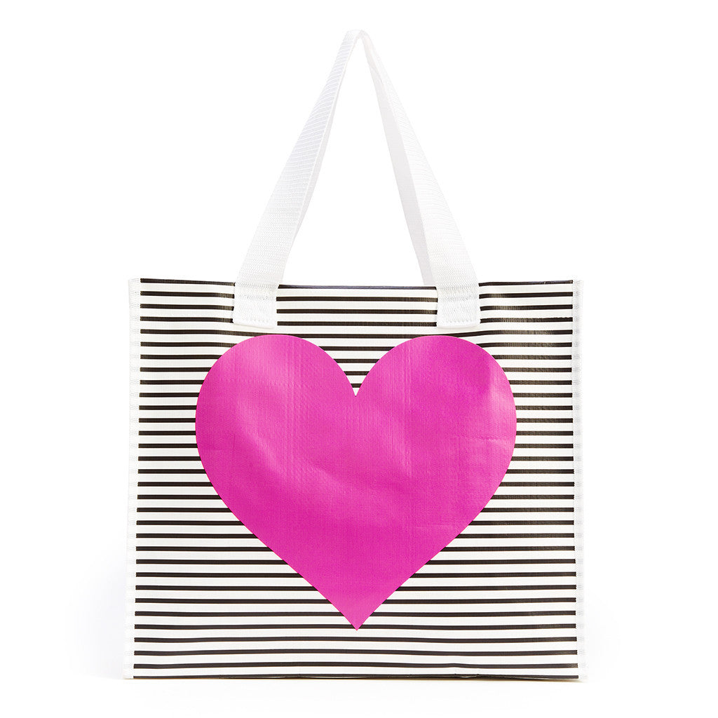 Ban.do I Want It All Shopper - Black/White Stripe With Neon Heart