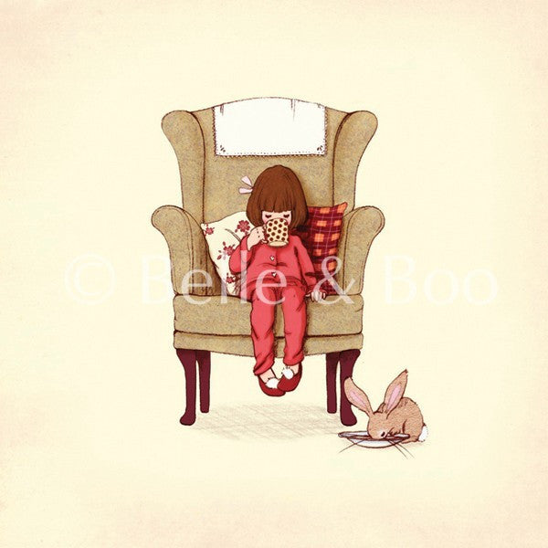 "Belle & Boo Hot Chocolate 10 x 10"" Framed Art Print (Signed)"