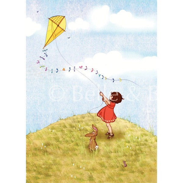 "Belle & Boo Fly A Kite 11 x 14"" Framed Art Print (Signed)"