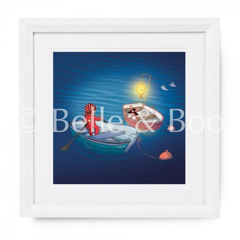 "Belle & Boo Night Time Pirates 10 x 10"" Framed Art Print (Signed)"