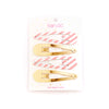 Ban.do Oh Snap Triangle Clip Set - Metallic Gold & Blush Ticket Stripe