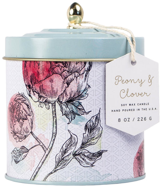 Paddywax Flower Market Peony & Clover Tin Candle (8oz.)