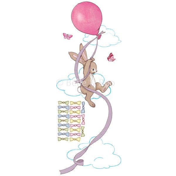 Belle & Boo Wall Sticker - Pink Balloon Height Chart
