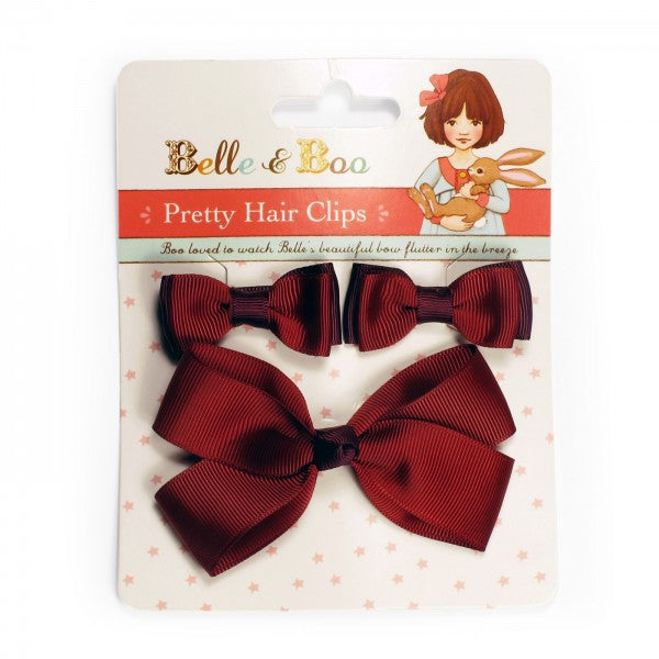 Belle & Boo Pretty Hair Clips - Ruby