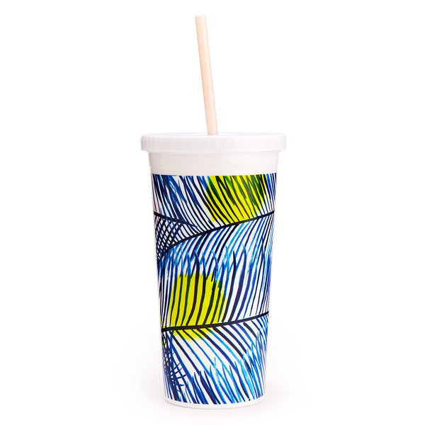 Ban.do Sip Sip Tumbler With Straw - Holiday Palms