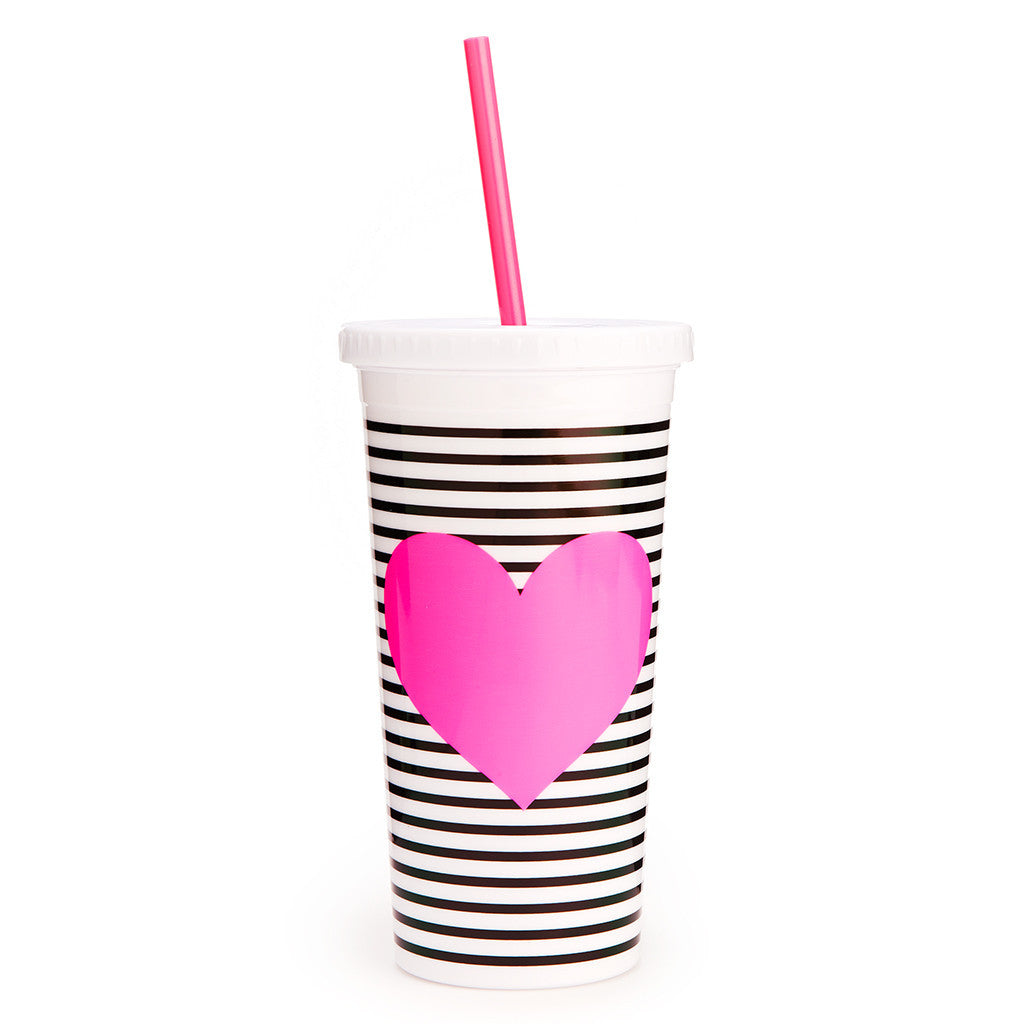 Ban.do Sip Sip Tumbler With Straw - Black/White Stripe With Neon Heart