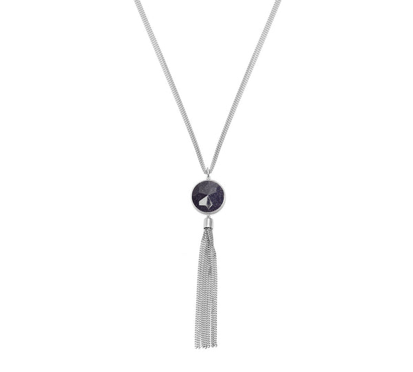 Lola Rose Boutique Taska Tassel Necklace - Blue Sandstone