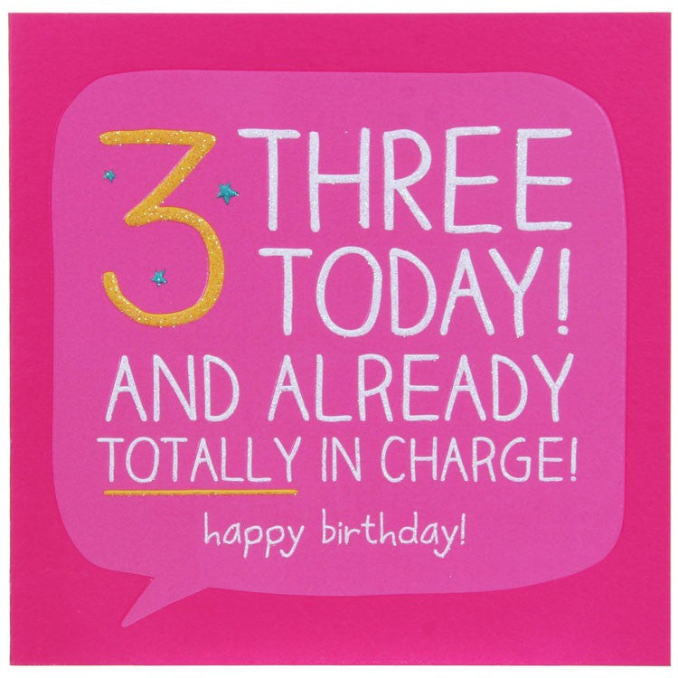 Happy Jackson Age 3 Birthday Card - Totally in Charge