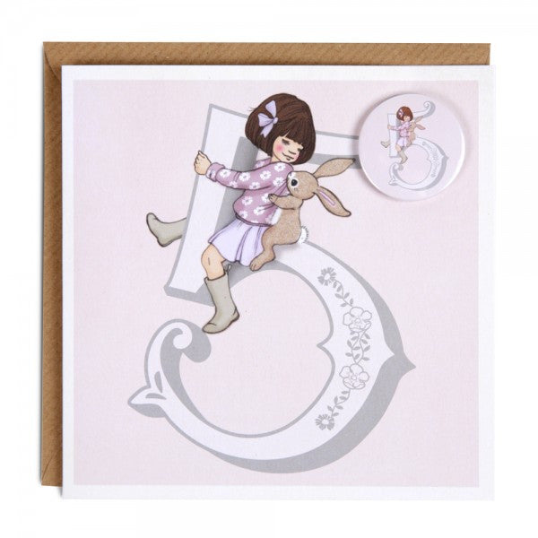 Belle & Boo Age 5 Badge Birthday Card - Belle & Boo