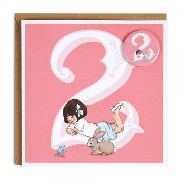 Belle & Boo Age 2 Badge Birthday Card - Belle & Boo