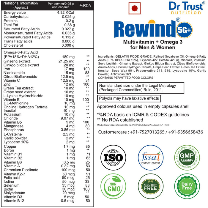 Dr Trust Dr Trust USA Rewind 5G Plus 705 Multivitamin With Omega 3 For Men & Women (60 Capsules)