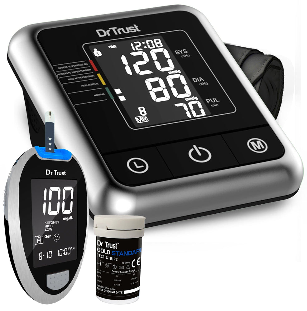 Dr Trust USA A-One Galaxy BP Monitor 106 + Glucometer Sugar Check Machine 9001 with 10 Strips.