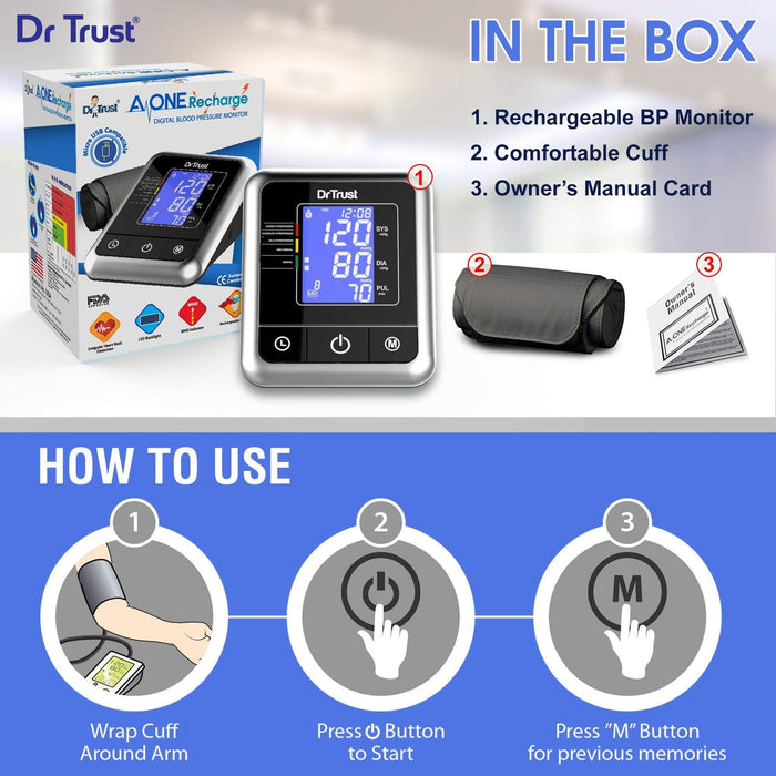 Dr Trust Dr Trust USA A-one Rechargeable Digital Blood Pressure Monitor