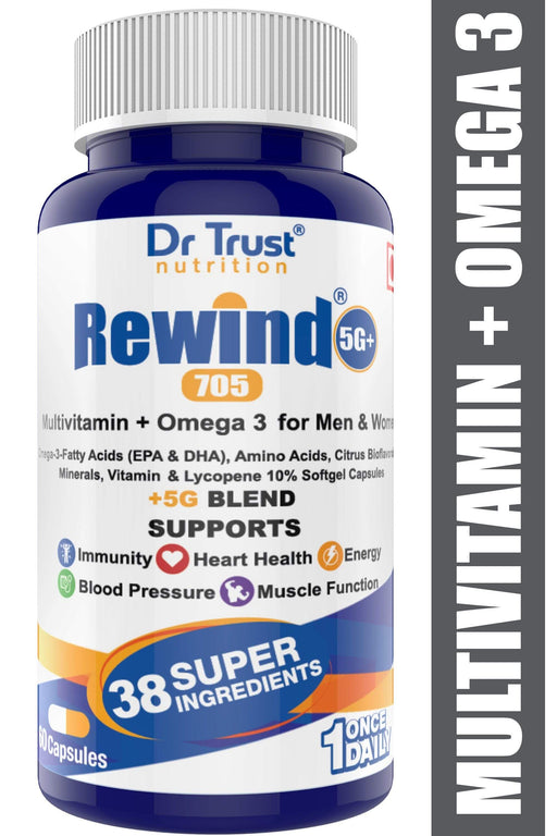 Dr Trust USA Nutrition Rewind 5G Plus 705 Multivitamin With Omega 3 For Men & Women (60 Capsules).