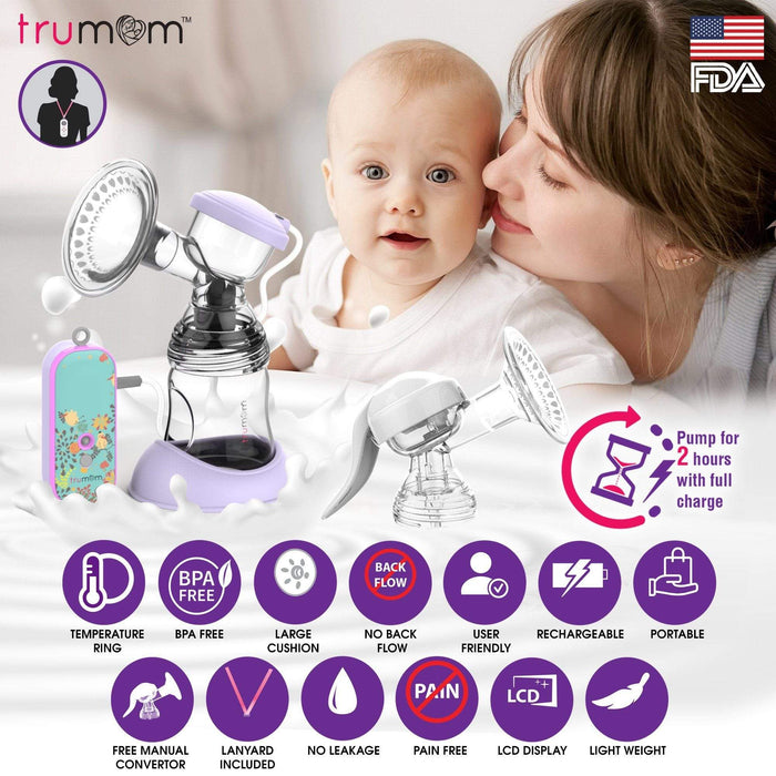 Dr Trust Breast Pump Trumom USA Lavender Rechargeable Breast Pump 2003