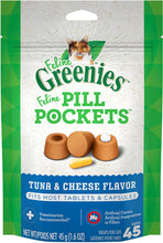 Load image into Gallery viewer, Greenies Pill Pockets Tuna & Cheese Flavored Feline Cat Treats