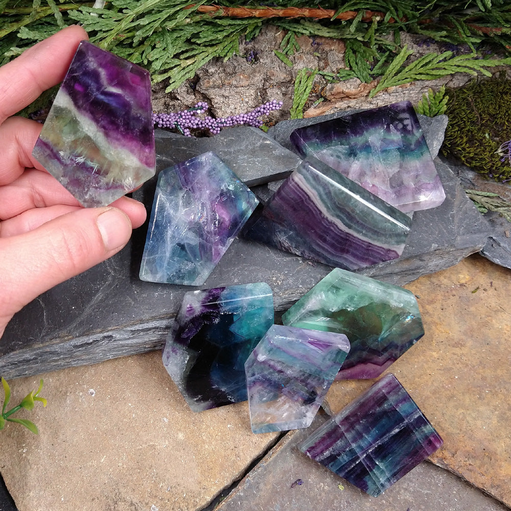 #FL-171G Fluorite cut and polished