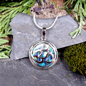 #JW-AB2 Om Pendant with Abalone, silver