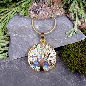#JW-AB3 Tree Pendant with Abalone