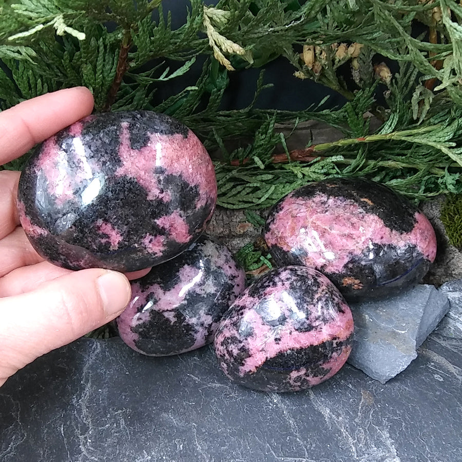 #RH-29A Rhodonite Palm Stone