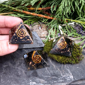 #TC-552 Black Tourmaline Orgone Pyramid