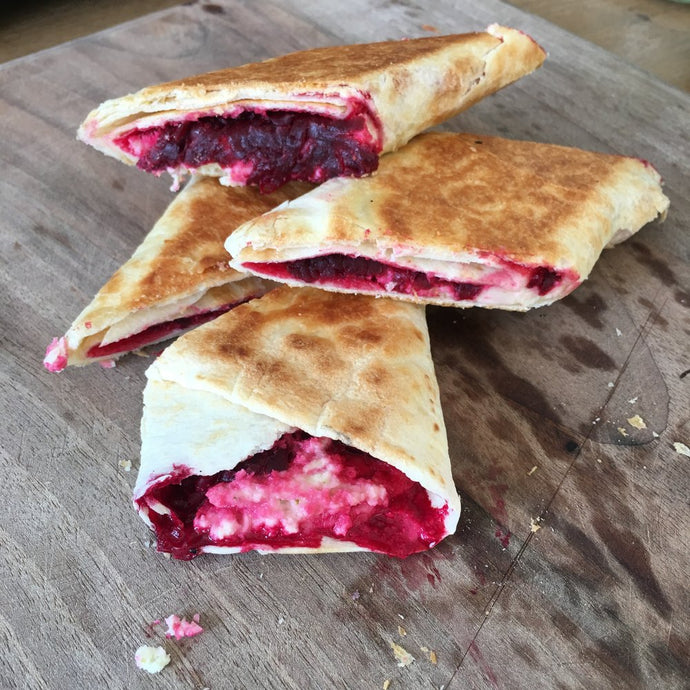 Vegan Feta and Beetroot Toasted Wraps