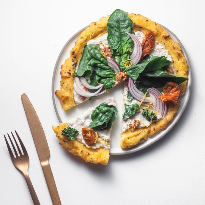Gluten Free Polenta Pizza with Sunflower Curd