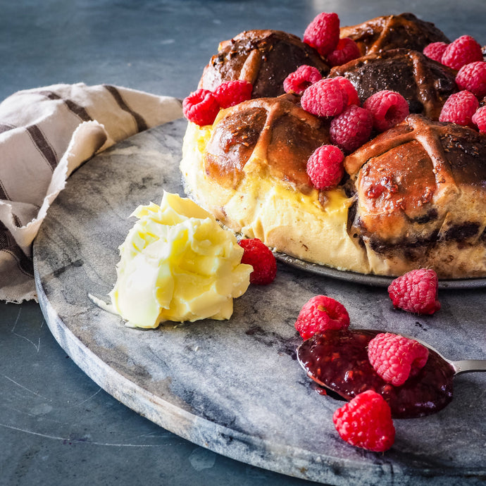 Vegan Raspberry Hot Cross Buns